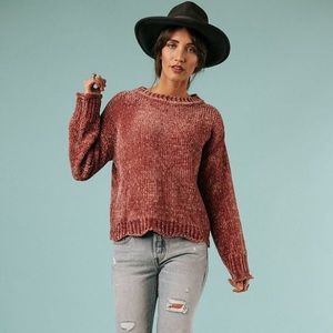 Clad and Cloth | Berry Kiss Chenille Sweater